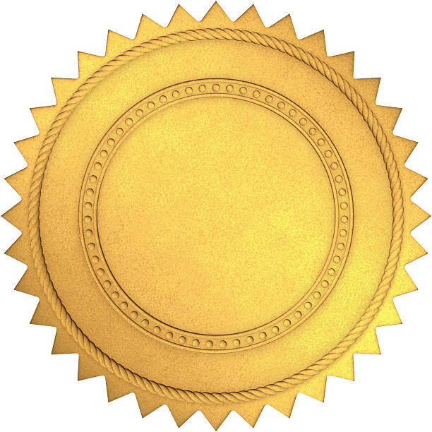 Golden Seal Royalty free 3d rendering of gold seal with clipping path embedded.  insignia stock pictures, royalty-free photos & images