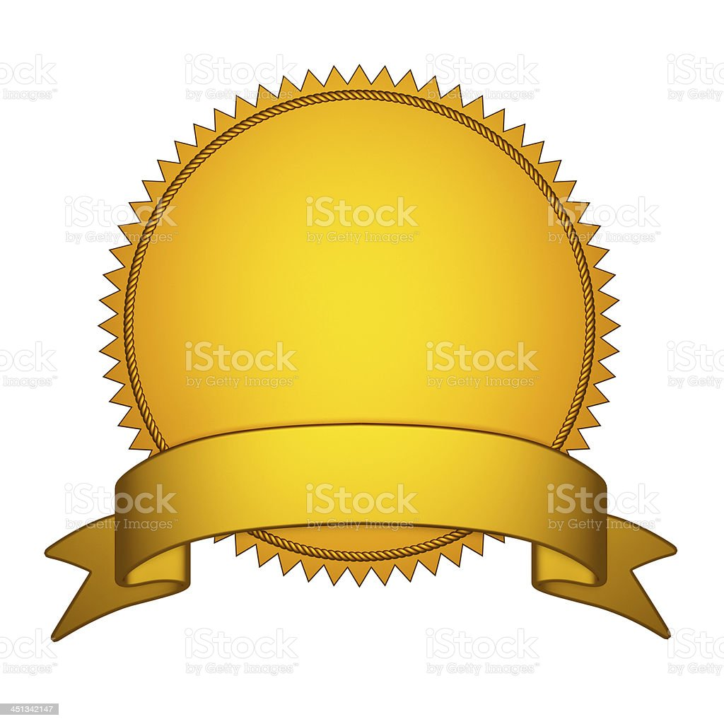 Golden Seal Stamper with Gold Ribbon stock photo