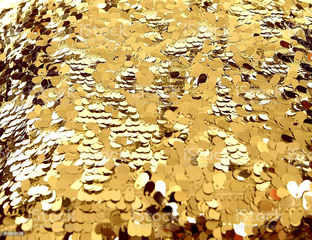 Golden sequin texture stock photo
