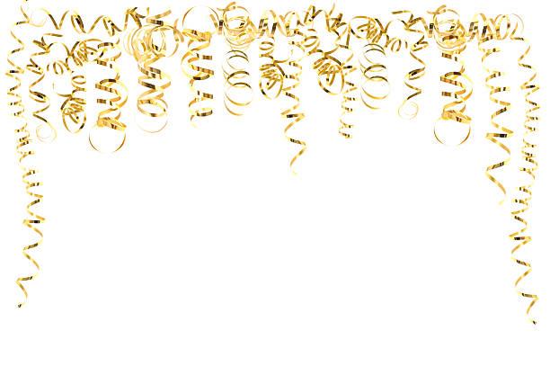 serpentine dorée isolé sur blanc et cotillons - Photo