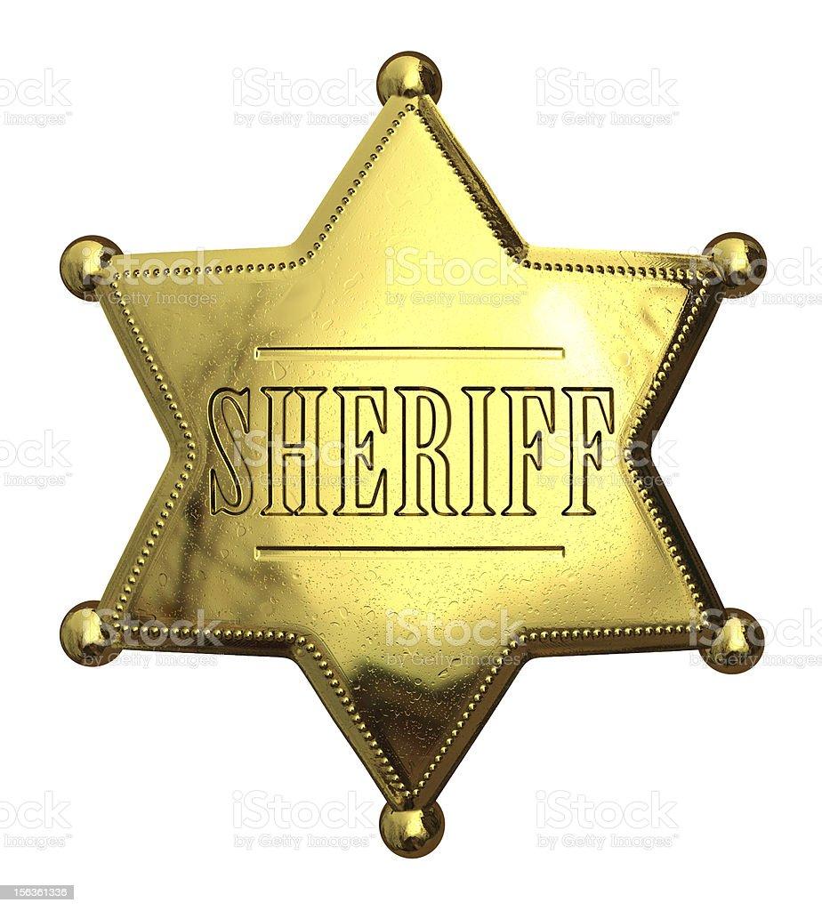 Golden sheriff's badge stock photo