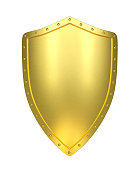 Golden shield , isolated