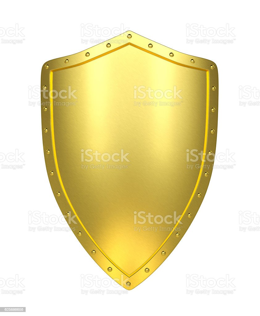 Golden shield , isolated - Photo