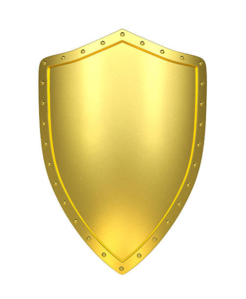 Golden shield , isolated stock photo
