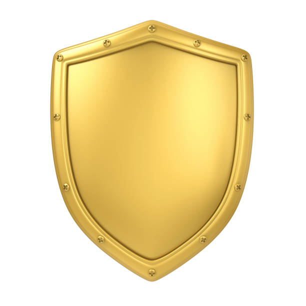 Golden Shield Isolated Golden Shield isolated on white background. 3D render shielding stock pictures, royalty-free photos & images