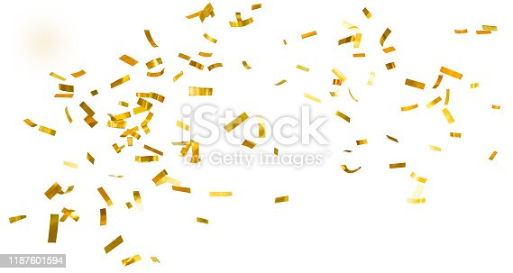 Descending golden shiny confetti isolated on a white background. Sparkling festive tinsel