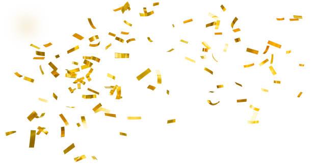 gouden glanzende confetti - confetti stockfoto's en -beelden