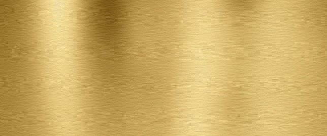 Golden shiny metal surface with brushed structure