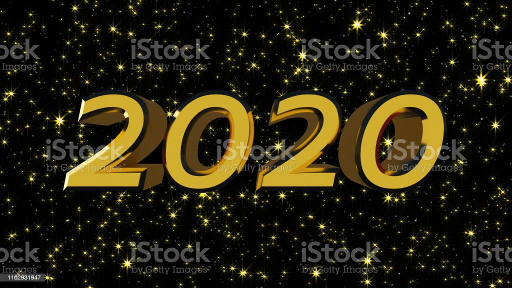 Golden shiny text 2020 with many stars, modern background for New...