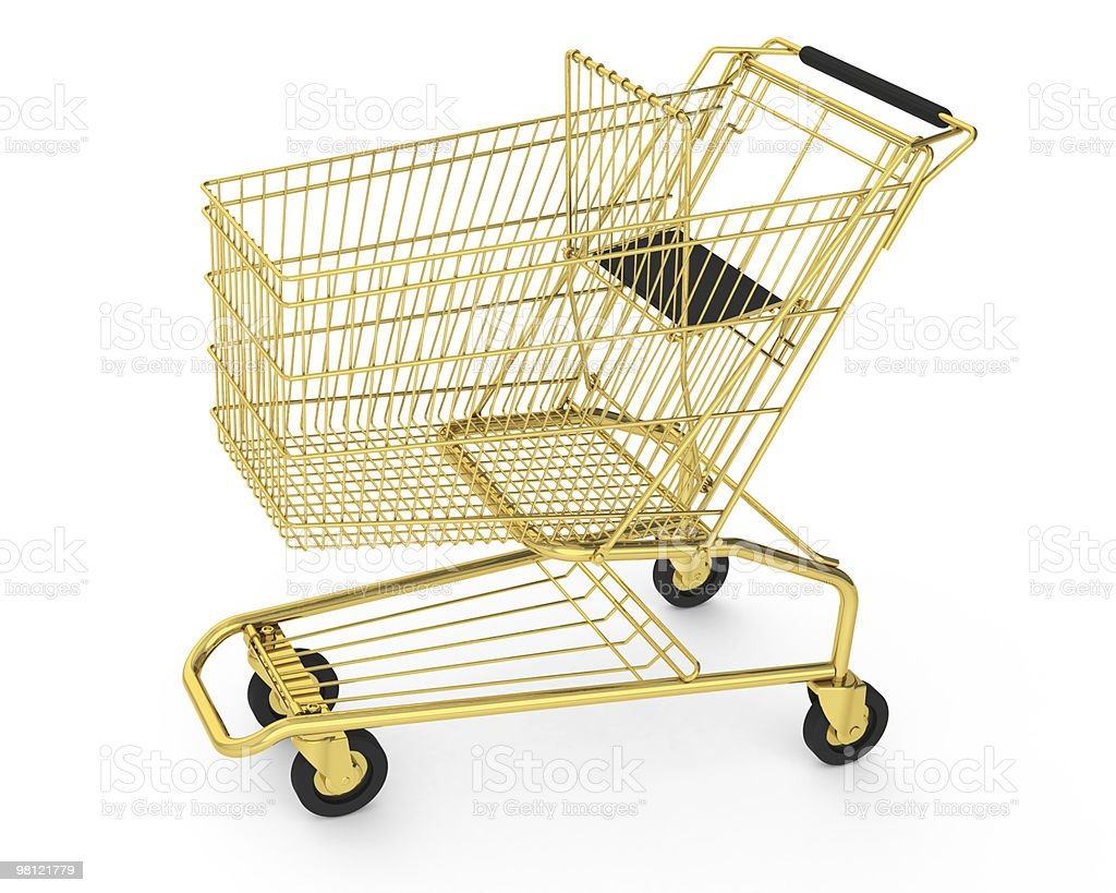 Golden shopping cart royalty-free stock photo