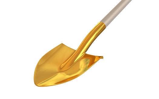 Golden Shovel On Isolated Background 3d Render Stock Photo - Download Image Now