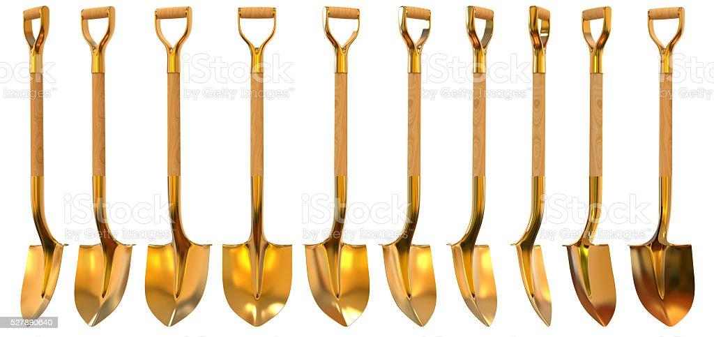 Golden shovel set foreshortening 3d illustration Golden shovel set foreshortening  isolated on white background Abundance Stock Photo