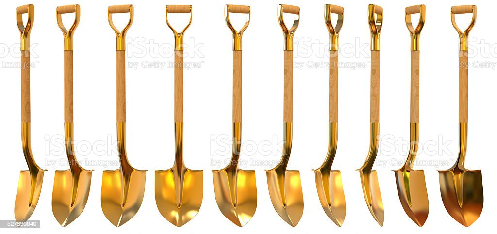 Golden shovel set foreshortening 3d illustration stock photo