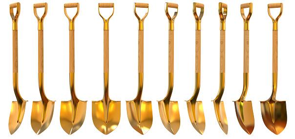 Golden Shovel Set Foreshortening 3d Illustration Stock Photo - Download Image Now