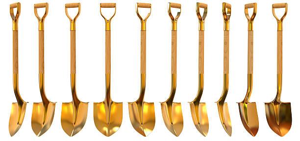 golden shovel set foreshortening 3d illustration - 鏟 個照片及圖片檔