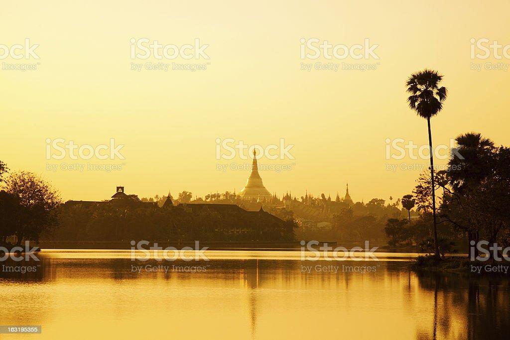 Golden Shwedagon Pagoda at Sunset in Burma royalty-free stock photo
