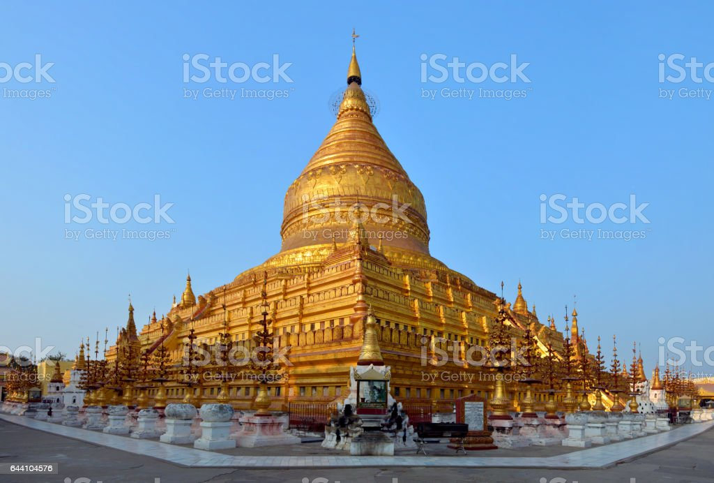 Golden Shwezigon Paya in Bagan, Myanmar (Burma) stock photo