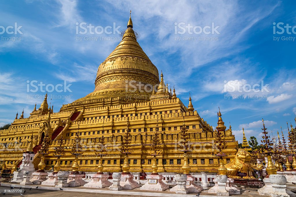 Golden Shwezigon Paya, Myanmar stock photo