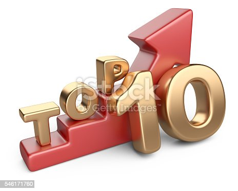 istock Golden sign top 10 and a red ladder. 546171760