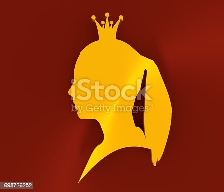 istock Golden silhouette of princess or queen 698726252