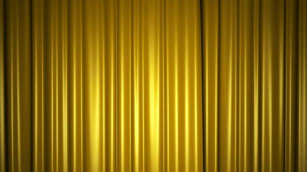 Goldener Seidenvorhang auf der Bühne. 3D-Illustration – Foto