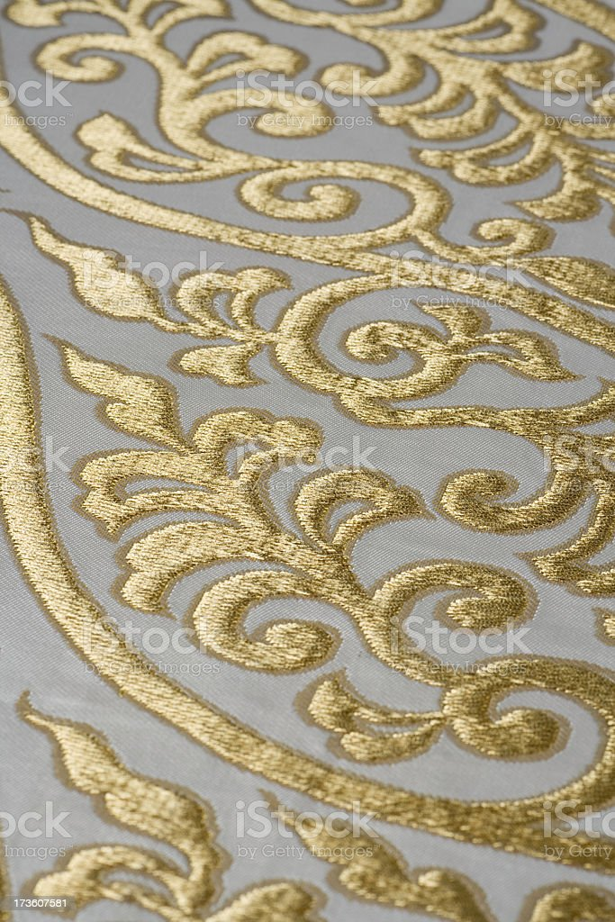 Golden silk fabric royalty-free stock photo