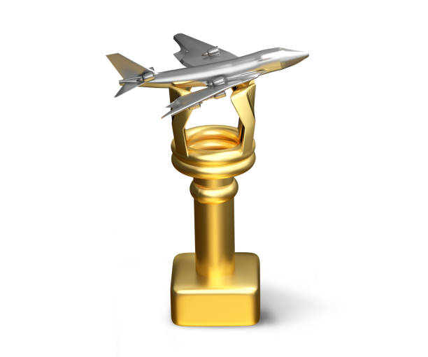 Goldene silberne Flugzeug Trophäe isoliert 3D-Illustration – Foto