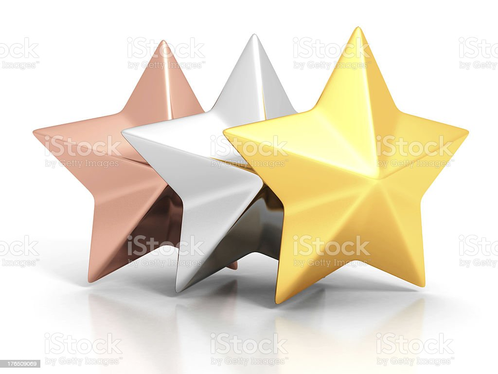 Golden, silver and bronze winner stars on white background royalty-free stock photo