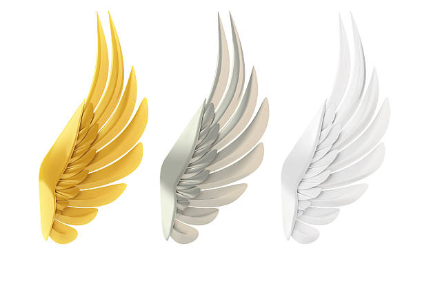 golden, silver and white wings - alas de angel fotografías e imágenes de stock