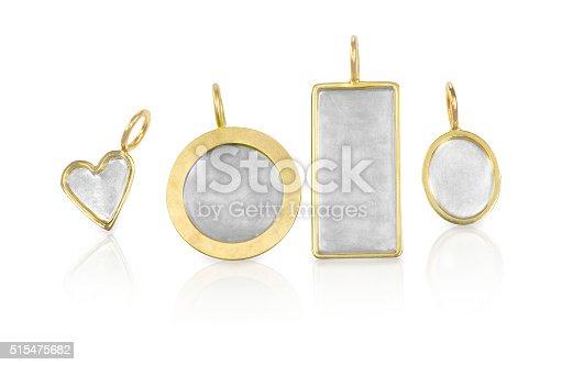 istock Golden Silver blank customizable trinket pendants 515475682