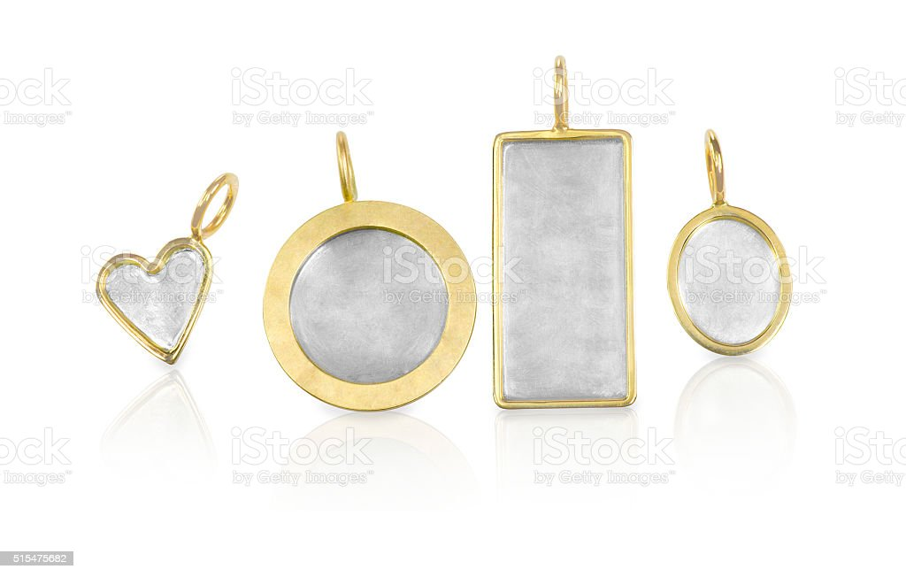 Golden Silver blank customizable trinket pendants stock photo