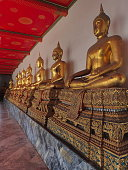 Wat Pho, Bangkok, Thailand, 2016 july 9 : many golden sitting buddhas in the Wat Pho near the buddhist temple