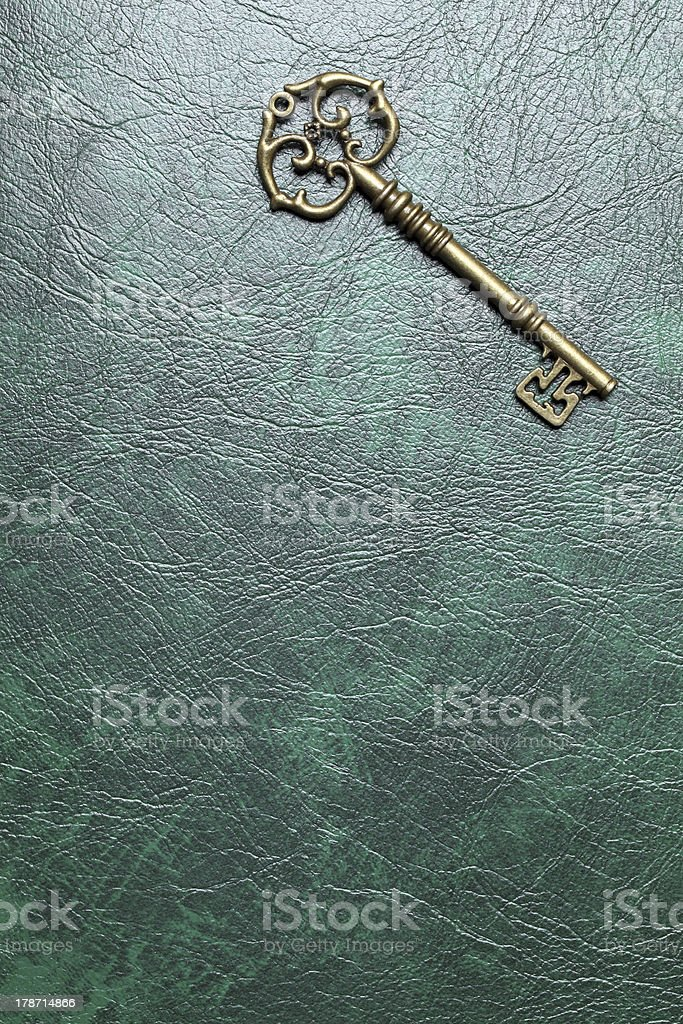 Golden skeleton key on a leather stock photo