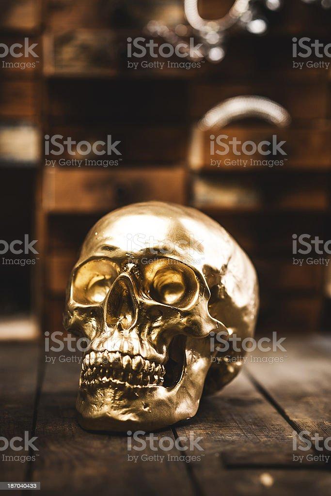 Golden skull royalty-free stock photo