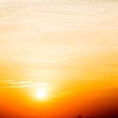 Golden sky on the setting sun.