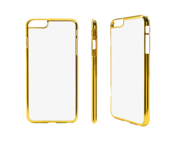 Golden smartphone case on isolated background with clipping path stock photo
