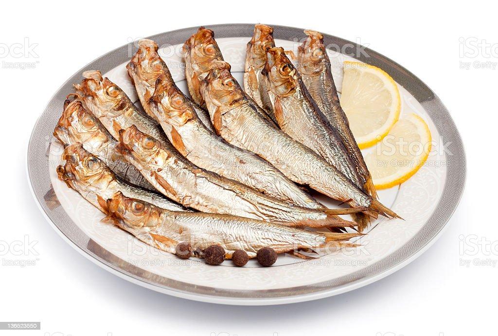 Golden smoke fish stock photo