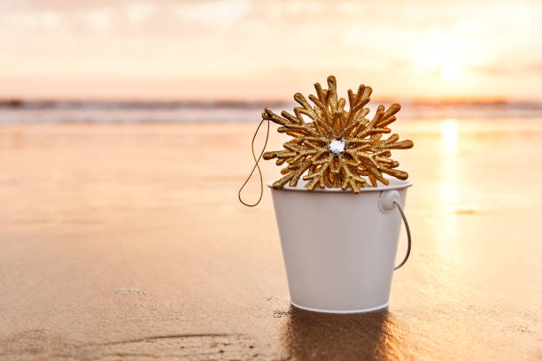Golden Snowflake Collected in a White Bucket at Sunset on the background of Beach and Sea in California stock photo