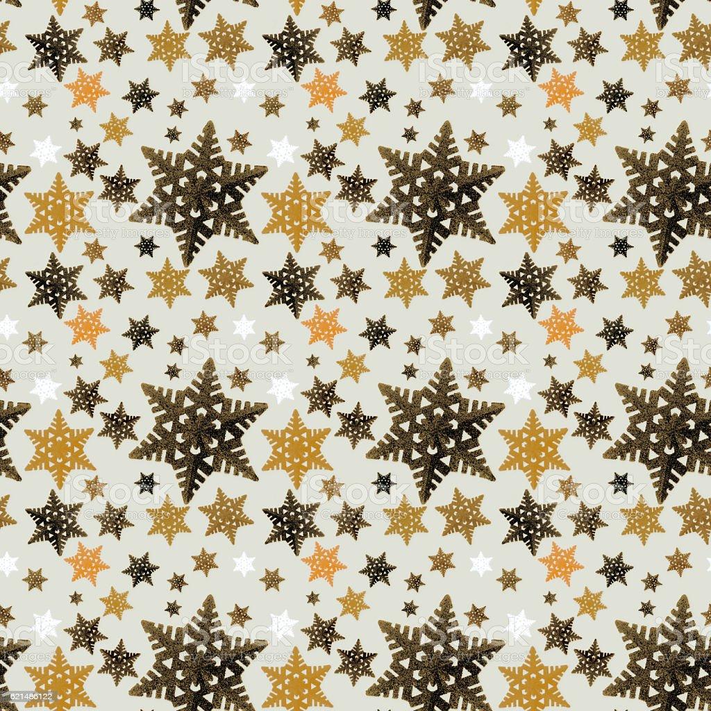 Golden snowflake ornaments seamless background photo libre de droits