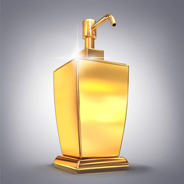 Golden Seife oder Eis-Spender auf grauem Hintergrund. – Foto