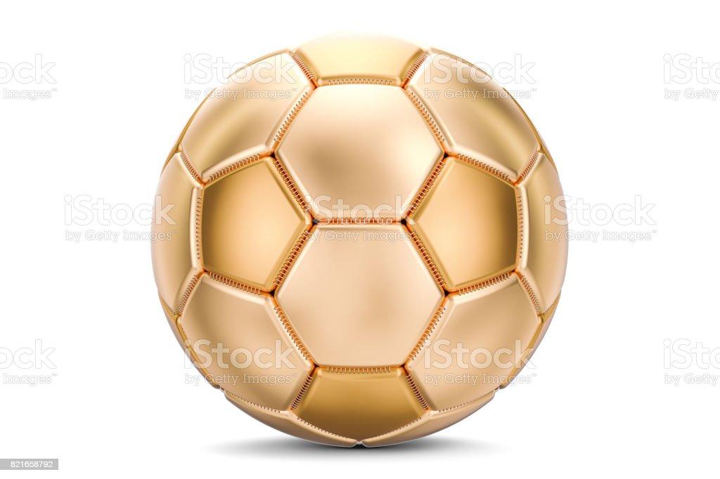 Golden soccer ball, 3D rendering isolated on white background stock photo