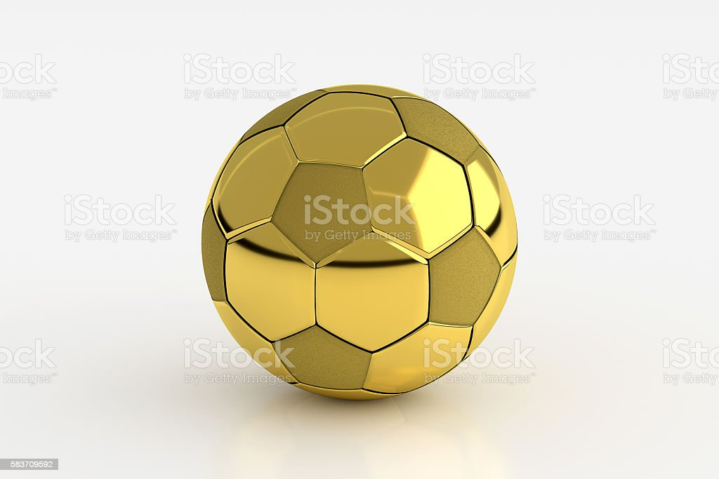 Golden Soccer Ball Isolated on White, 3D Rendering - foto de acervo