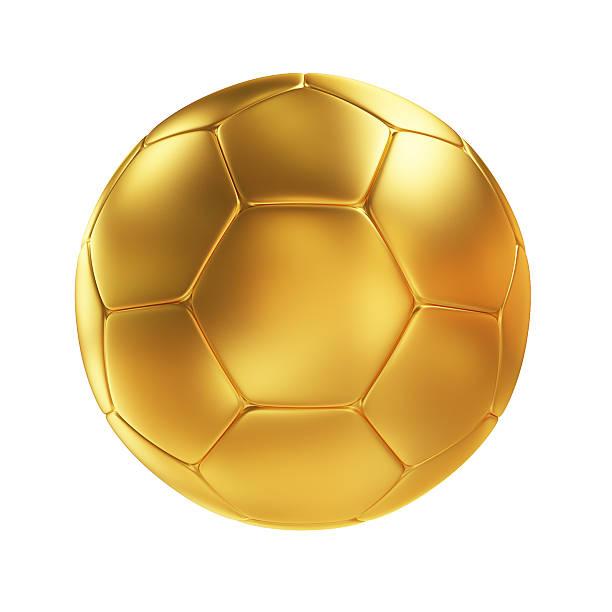 Golden Fußball Ball, isoliert auf weißem Hintergrund – Foto