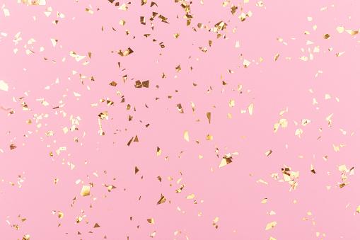 Golden Sparkles On Pink - Fotografias de stock e mais imagens de Abstrato