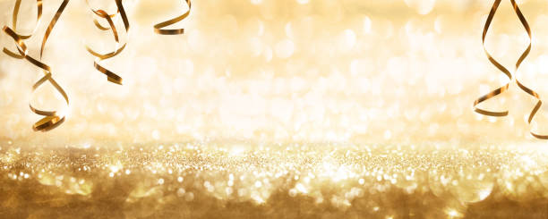 Golden sparkling party background stock photo