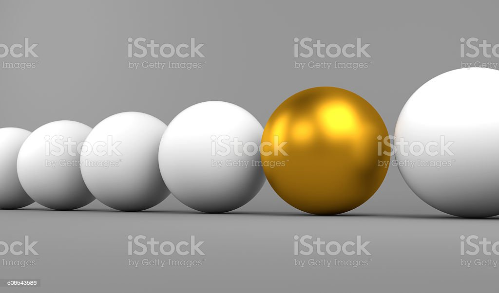 Golden sphere stands out stock photo
