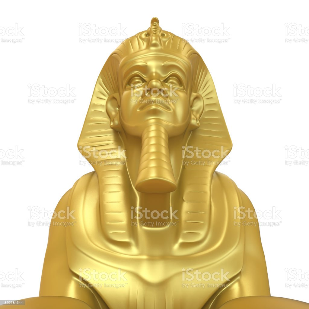 Golden Sphinx Statue Isolated Stock Photo - Download Image Now