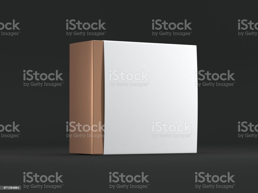 Golden square Box with white Cover on black background stock photo