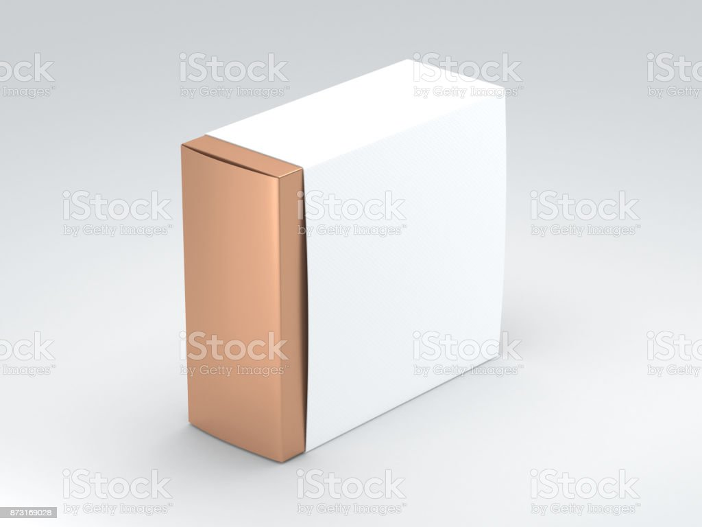 Golden square Box with white Cover stock photo
