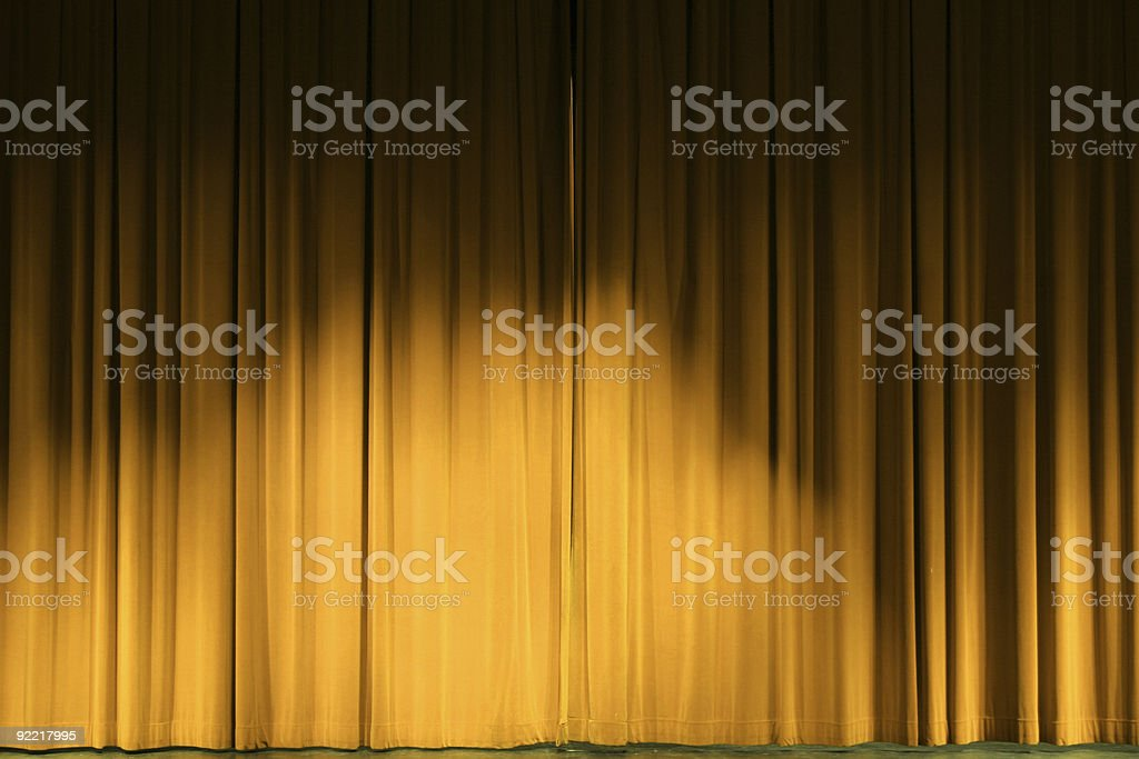 Golden stage curtains stock photo